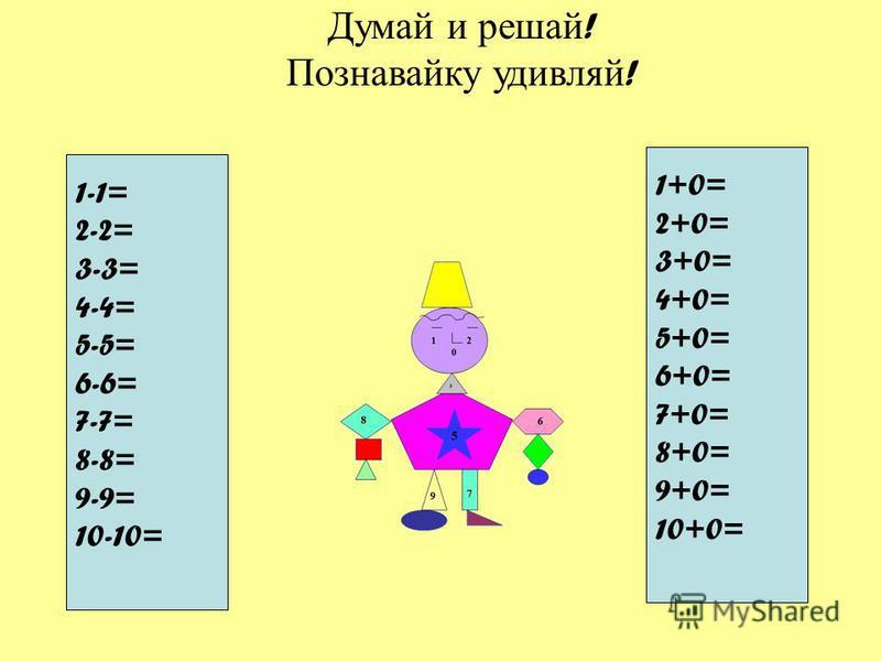 Думай и решай ! Познавайку удивляй ! 1-1= 2-2= 3-3= 4-4= 5-5= 6-6= 7-7= 8-8= 9-9= 10-10= 1+0= 2+0= 3+0= 4+0= 5+0= 6+0= 7+0= 8+0= 9+0= 10+0=