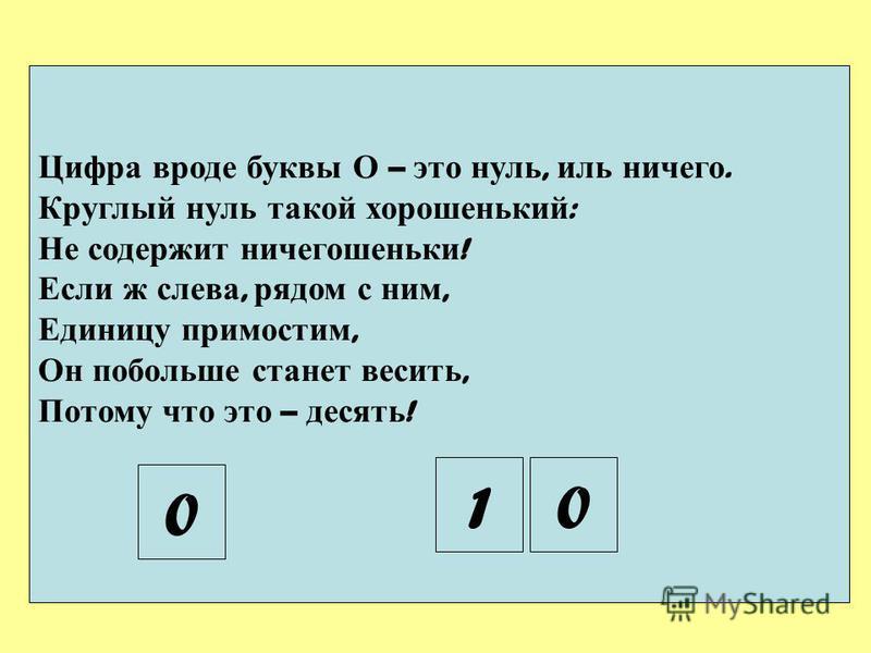 Цифра вроде буквы О – это нуль, иль ничего. Круглый нуль такой хорошенький : Не содержит ничегошеньки ! Если ж слева, рядом с ним, Единицу примостим, Он побольше станет весить, Потому что это – десять ! 0 01