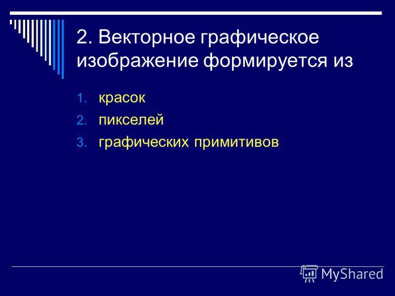 2. Векторное графическое изображение формируется из 1. красок 2. пикселей 3. графических примитивов