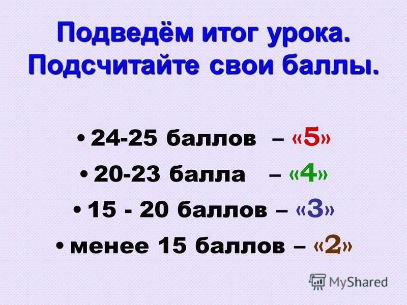 Подведём итог урока. Подсчитайте свои баллы. 24-25 баллов – «5» 20-23 балла – «4» 15 - 20 баллов – «3» менее 15 баллов – «2»