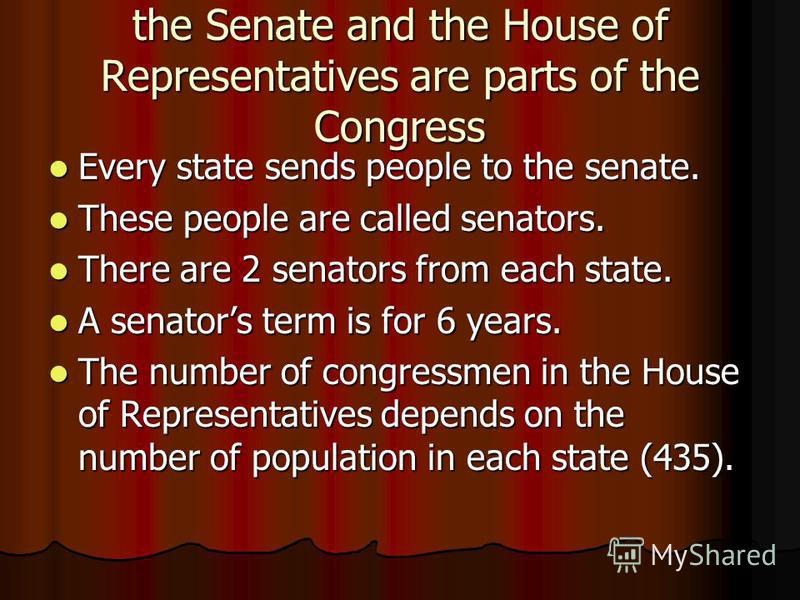 the Senate and the House of Representatives are parts of the Congress Every state sends people to the senate. Every state sends people to the senate. These people are called senators. These people are called senators. There are 2 senators from each s