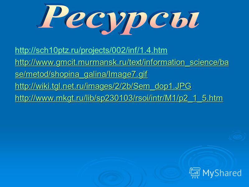 http://sch10ptz.ru/projects/002/inf/1.4. htm http://www.gmcit.murmansk.ru/text/information_science/ba se/metod/shopina_galina/Image7. gif http://wiki.tgl.net.ru/images/2/2b/Sem_dop1. JPG http://www.mkgt.ru/lib/sp230103/rsoi/intr/M1/p2_1_5.htm
