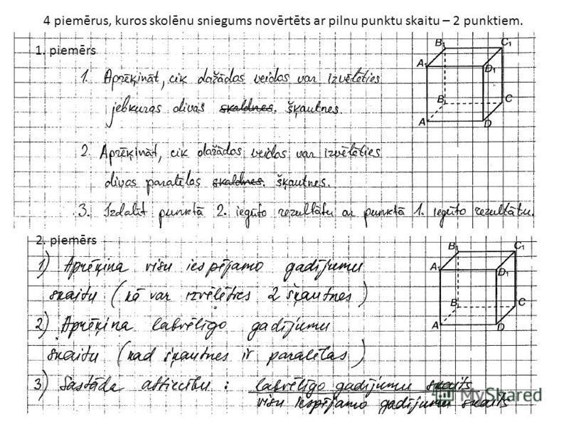 4 piemērus, kuros skolēnu sniegums novērtēts ar pilnu punktu skaitu – 2 punktiem. 1. piemērs 2. piemērs