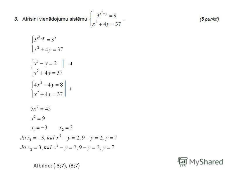 + Atbilde: (-3;7), (3;7)