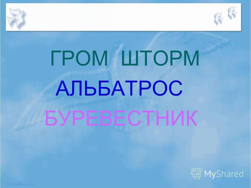 ГРОМ ШТОРМ АЛЬБАТРОС БУРЕВЕСТНИК