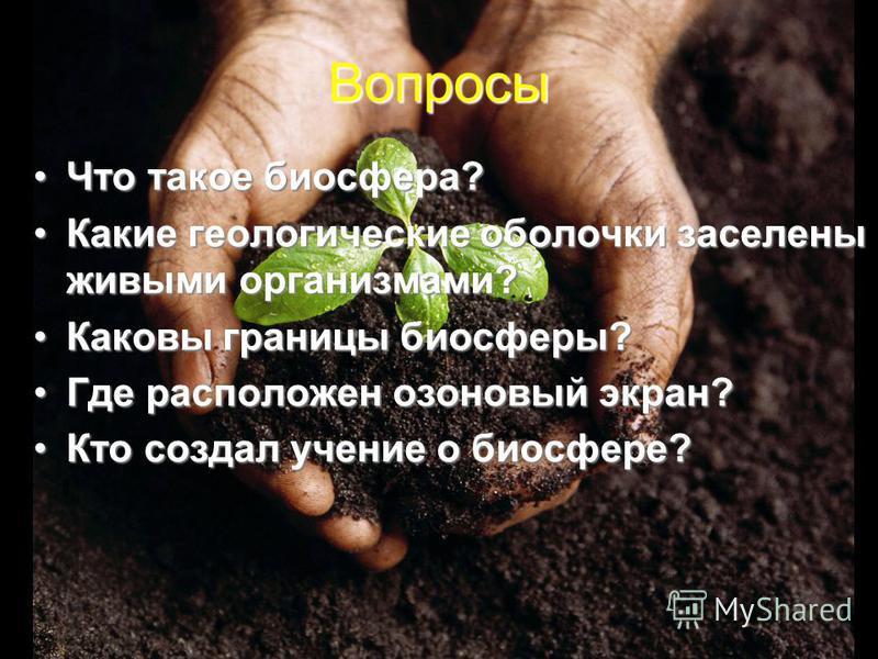 Вопросы Что такое биосфера?Что такое биосфера? Какие геологические оболочки заселены живыми организмами?Какие геологические оболочки заселены живыми организмами? Каковы границы биосферы?Каковы границы биосферы? Где расположен озоновый экран?Где распо