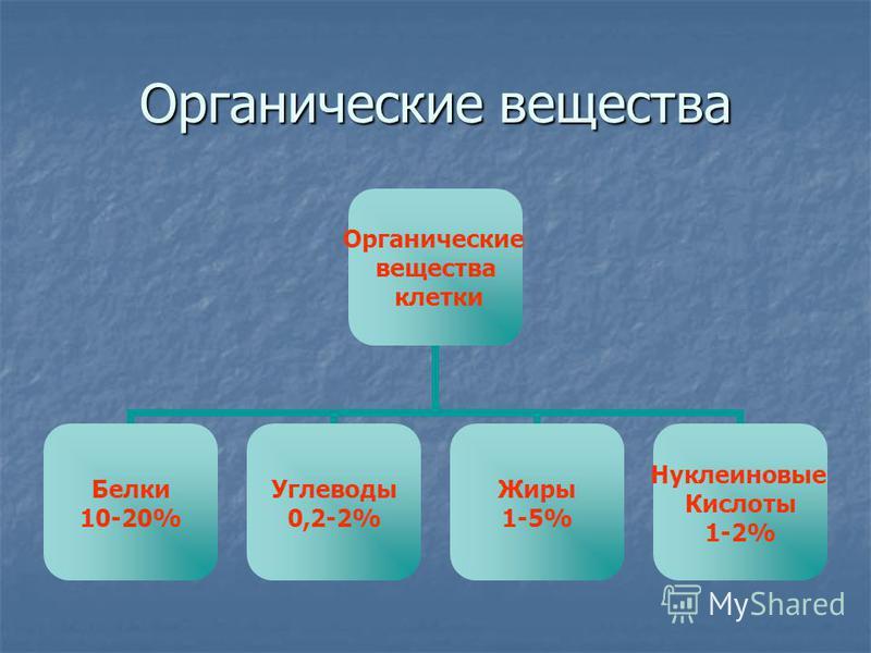 Органические вещества Органические вещества клетки Белки 10-20% Углеводы 0,2-2% Жиры 1-5% Нуклеиновые Кислоты 1-2%