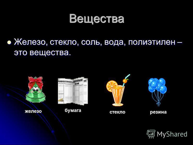 Вещества Железо, стекло, соль, вода, полиэтилен – это вещества. Железо, стекло, соль, вода, полиэтилен – это вещества. железо бумага стеклорезина