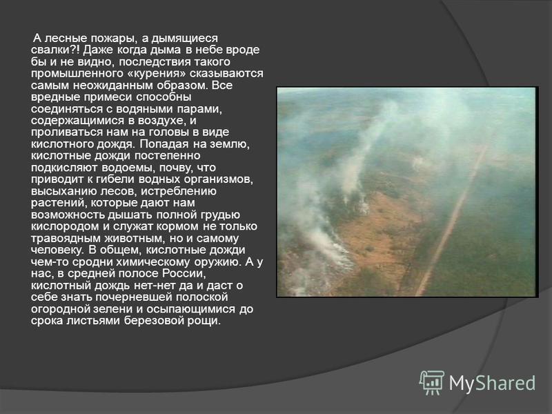 А лесные пожары, а дымящиеся свалки?! Даже когда дыма в небе вроде бы и не видно, последствия такого промышленного «курения» сказываются самым неожиданным образом. Все вредные примеси способны соединяться с водяными парами, содержащимися в воздухе, и