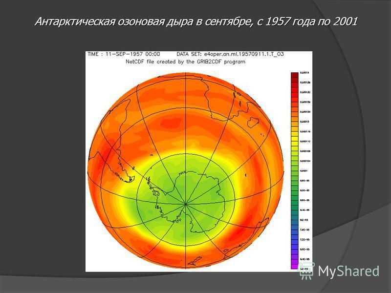 Антарктическая озоновая дыра в сентябре, с 1957 года по 2001