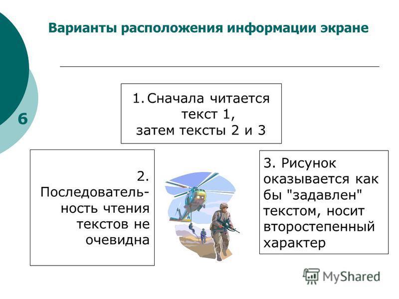 Варианты расположения информации экране 6 2. Последователь- ность чтения текстов не очевидна 3. Рисунок оказывается как бы задавлен текстом, носит второстепенный характер 1. Сначала читается текст 1, затем тексты 2 и 3