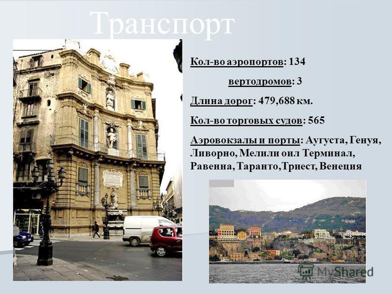 Транспорт Кол-во аэропортов: 134 вертодромов: 3 Длина дорог: 479,688 км. Кол-во торговых судов: 565 Аэровокзалы и порты: Аугуста, Генуя, Ливорно, Мелили оил Терминал, Равенна, Таранто,Триест, Венеция