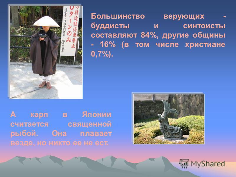 Большинство верующих - буддисты и синтоисты составляют 84%, другие общины - 16% (в том числе христиане 0,7%). А карп в Японии считается священной рыбой. Она плавает везде, но никто ее не ест.