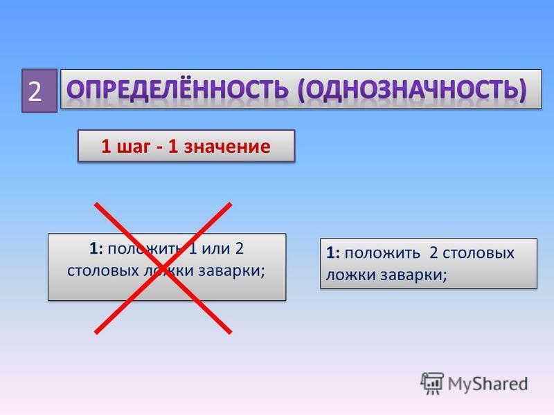 2 1 шаг - 1 значение 1: положить 1 или 2 столовых ложки заварки; 1: положить 2 столовых ложки заварки;