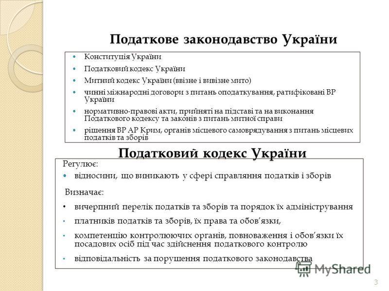 Податкове законодавство України Конституція України Податковий кодекс України Митний кодекс України (ввізне і вивізне мито) чинні міжнародні договори з питань оподаткування, ратифіковані ВР України нормативно-правові акти, прийняті на підставі та на