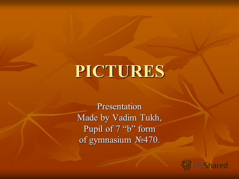PICTURES Presentation Made by Vadim Tukh, Pupil of 7 b form of gymnasium 470.