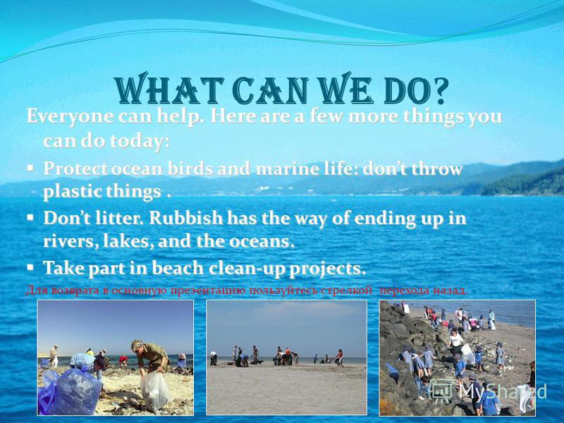 What can we do ? Everyone can help. Here are a few more things you can do today: Protect ocean birds and marine life: dont throw plastic things. Protect ocean birds and marine life: dont throw plastic things. Dont litter. Rubbish has the way of endin