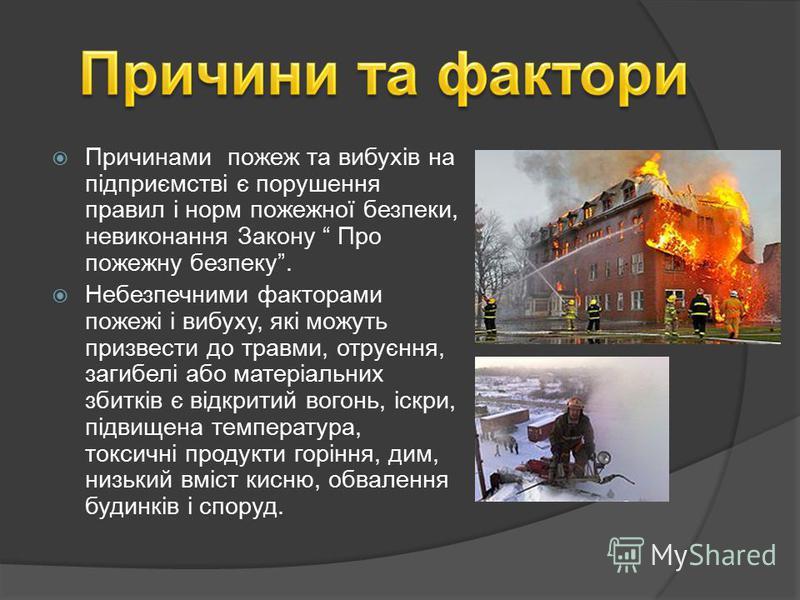 Причинами пожеж та вибухів на підприємстві є порушення правил і норм пожежної безпеки, невиконання Закону Про пожежну безпеку. Небезпечними факторами пожежі і вибуху, які можуть призвести до травми, отруєння, загибелі або матеріальних збитків є відкр