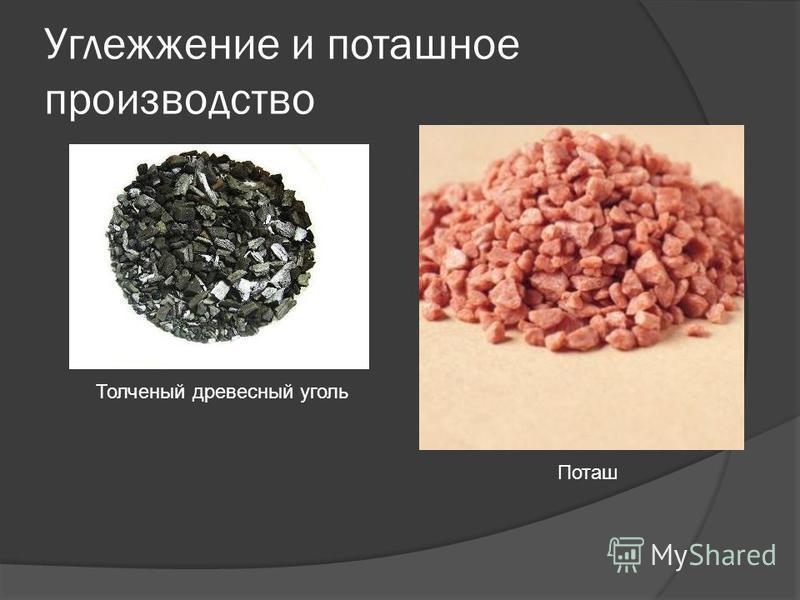 Углежжение и поташное производство Толченый древесный уголь Поташ