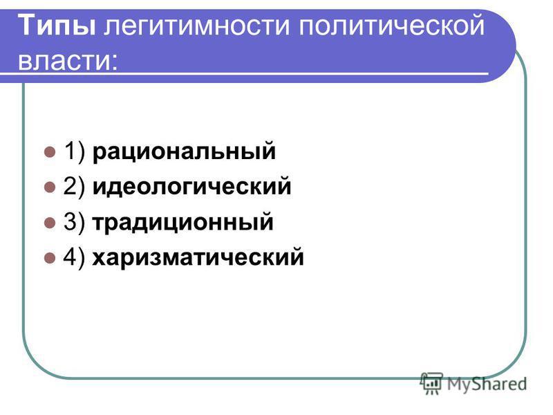 Типы легитимности политической власти: 1) рациональный 2) идеологический 3) традиционный 4) харизматический