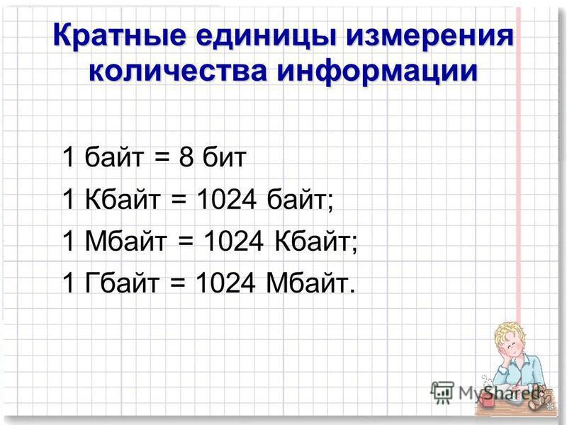 Кратные единицы измерения количества информации 1 байт = 8 бит 1 Кбайт = 1024 байт; 1 Мбайт = 1024 Кбайт; 1 Гбайт = 1024 Мбайт.