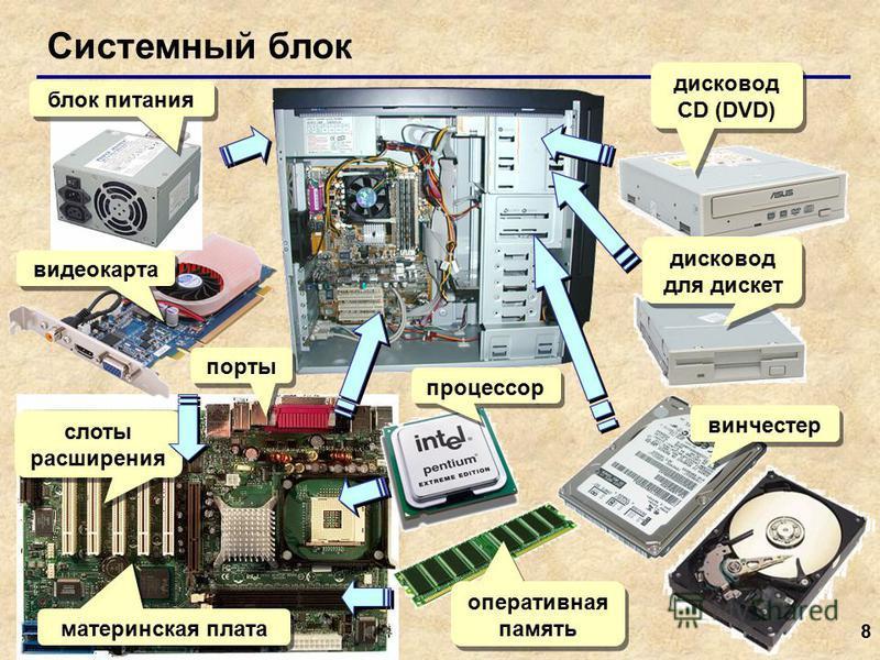8 Системный блок блок питания видеокарта порты слоты расширения материнская плата процессор оперативная память винчестер дисковод для дискет дисковод СD (DVD)