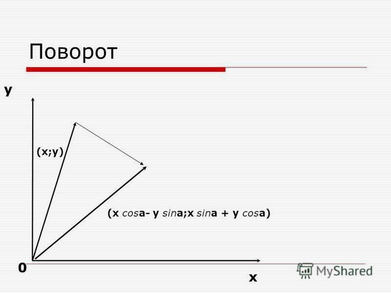 Поворот х у 0 (x;y) (x cosa- y sina;x sina + y cosa)