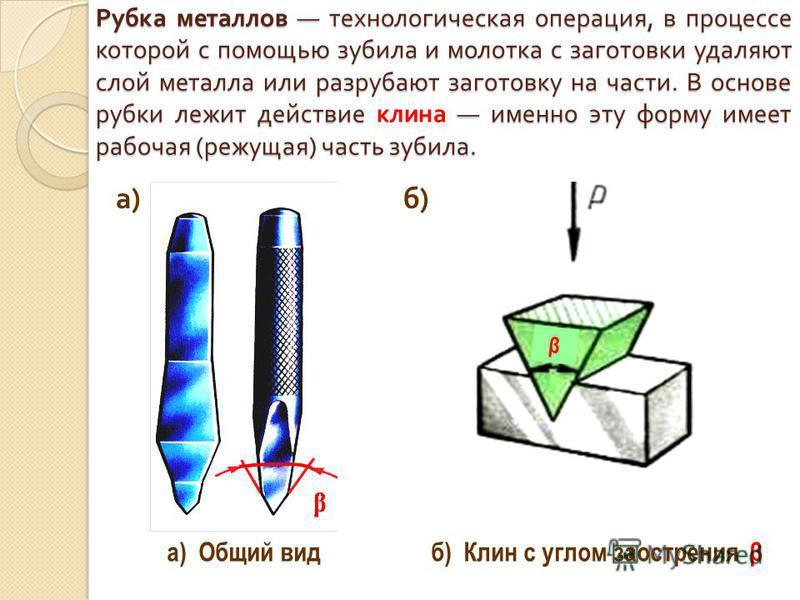 Рубка металлов технологическая операция, в процессе которой с помощью зубила и молотка с заготовки удаляют слой металла или разрубают заготовку на части. В основе рубки лежит действие именно эту форму имеет рабочая ( режущая ) часть зубила. Рубка мет