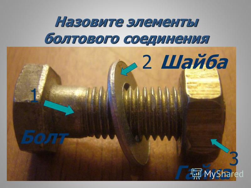 Назовите элементы болтового соединения 1 2 3 Болт Шайба Гайка