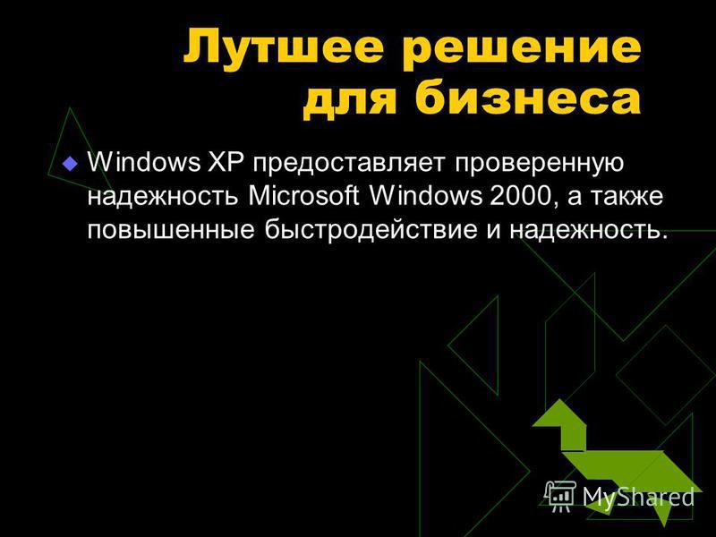 Лутшее решение для бизнеса Windows XP предоставляет проверенную надежность Microsoft Windows 2000, а также повышенные быстродействие и надежность.