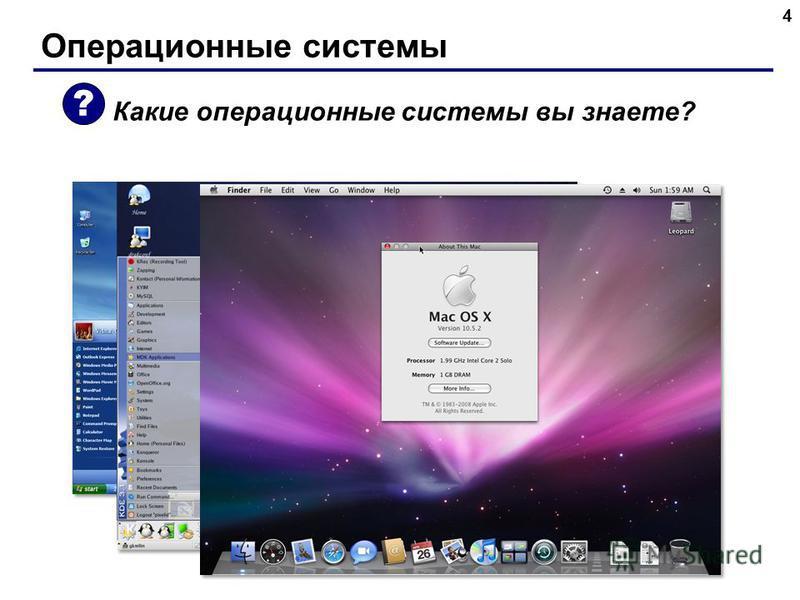 Операционные системы 4 Какие операционные системы вы знаете? ?
