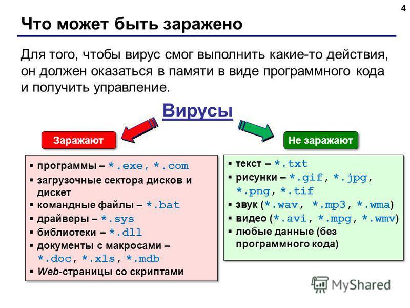 Что может быть заражено 4 Вирусы программы – *. exe, *. com загрузочные сектора дисков и дискет командные файлы – *.bat драйверы – *.sys библиотеки – *.dll документы с макросами – *.doc, *.xls, *.mdb Web-страницы со скриптами программы – *. exe, *. c