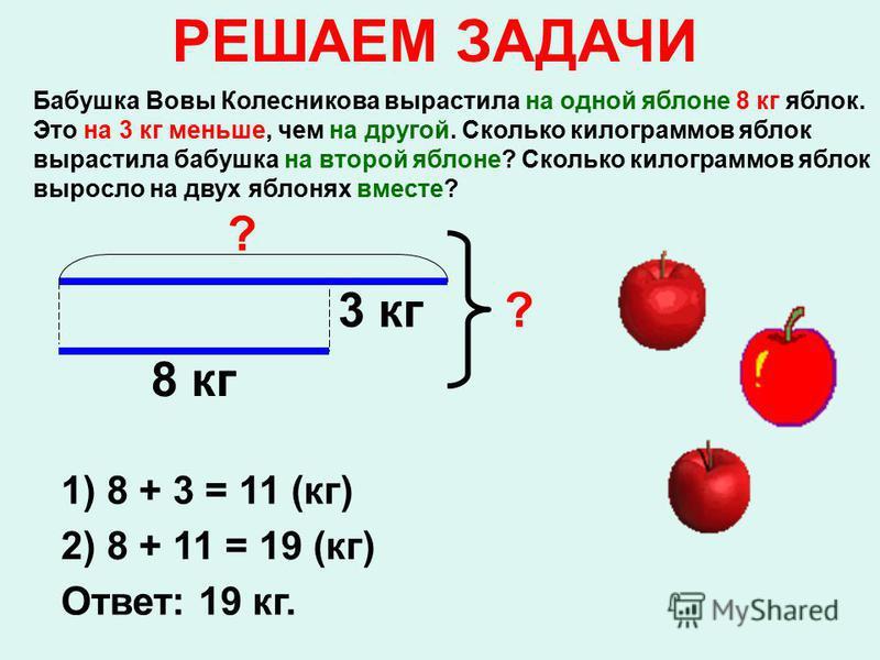 Бабушка Вовы Колесникова вырастила на одной яблоне 8 кг яблок. Это на 3 кг меньше, чем на другой. Сколько килограммов яблок вырастила бабушка на второй яблоне? Сколько килограммов яблок выросло на двух яблонях вместе? РЕШАЕМ ЗАДАЧИ 8 кг 3 кг ? ? 1) 8