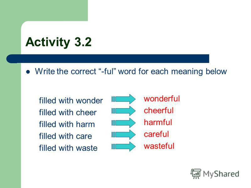 Activity 3.2 Write the correct -ful word for each meaning below filled with wonder filled with cheer filled with harm filled with care filled with waste wonderful cheerful harmful careful wasteful