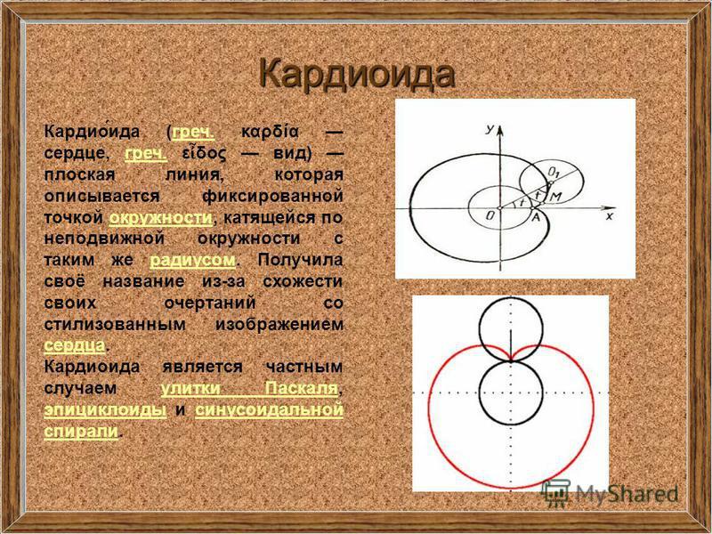 Кардиоида Кардио́ида (греч. καρδία сердце, греч. ε δος вид) плоская линия, которая описывается фиксированной точкой окружности, катящейся по неподвижной окружности с таким же радиусом. Получила своё название из-за схожести своих очертаний со стилизов