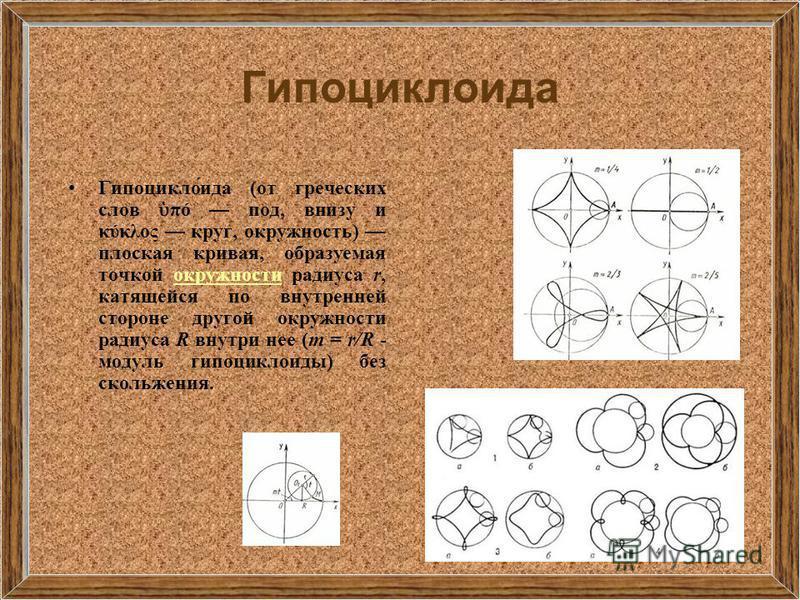 Гипоциклоида Гипоцикло́ида (от греческих слов πό под, внизу и κύκλος круг, окружность) плоская кривая, образуемая точкой окружности радиуса r, катящейся по внутренней стороне другой окружности радиуса R внутри нее (m = r/R - модуль гипоциклоиды) без