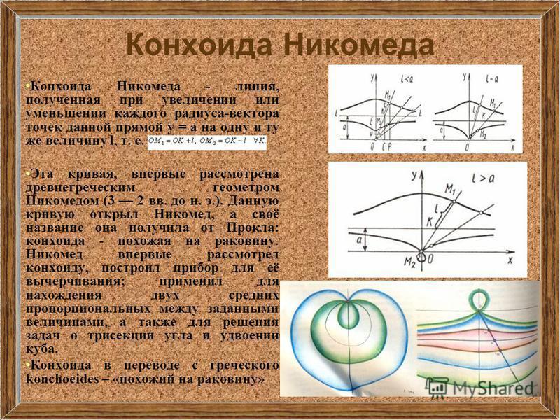 Конхоида Никомеда Конхоида Никомеда - линия, полученная при увеличении или уменьшении каждого радиуса-вектора точек данной прямой y = a на одну и ту же величину l, т. е. Эта кривая, впервые рассмотрена древнегреческим геометром Никомедом (3 2 вв. до