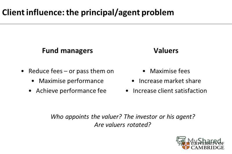 Client influence: the principal/agent problem Fund managers Reduce fees – or pass them on Maximise performance Achieve performance fee Valuers Maximise fees Increase market share Increase client satisfaction Who appoints the valuer? The investor or h
