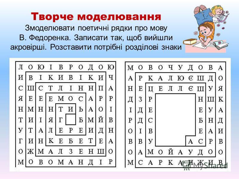 Творче моделювання Змоделювати поетичні рядки про мову В. Федоренка. Записати так, щоб вийшли акровірші. Розставити потрібні розділові знаки