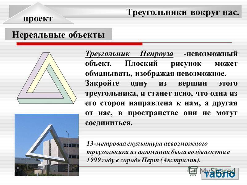 Треугольники вокруг нас. проект Нереальные объекты Треугольник Пенроуза -невозможный объект. Плоский рисунок может обманывать, изображая невозможное. Закройте одну из вершин этого треугольника, и станет ясно, что одна из его сторон направлена к нам,