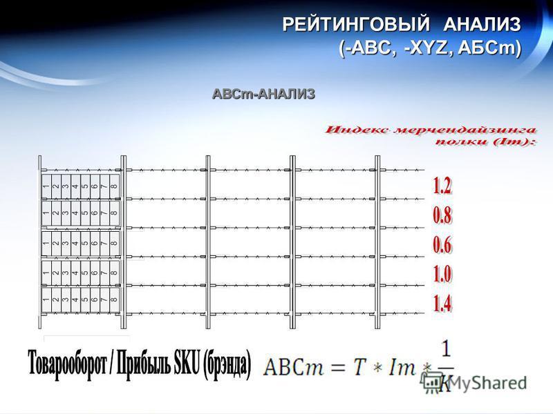 РЕЙТИНГОВЫЙ АНАЛИЗ (-ABC, -XYZ, АБСm) АВСm-АНАЛИЗ