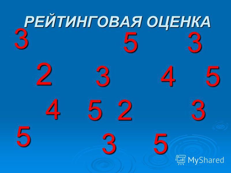 РЕЙТИНГОВАЯ ОЦЕНКА РЕЙТИНГОВАЯ ОЦЕНКА 3 2 4 5 4 5 5 3 5 3 3 4 5 3 4 5 5 2 3 3 5 3 5