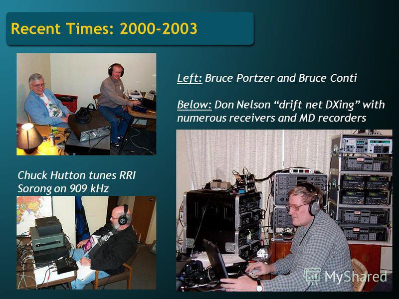 Recent Times: 2000-2003 Chuck Hutton tunes RRI Sorong on 909 kHz Left: Bruce Portzer and Bruce Conti Below: Don Nelson drift net DXing with numerous receivers and MD recorders