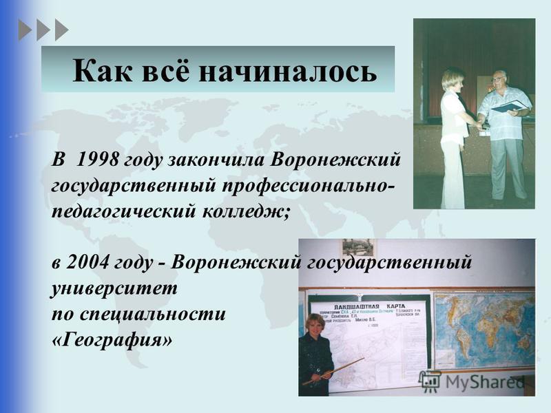 В 1998 году закончила Воронежский государственный профессионально- педагогический колледж; в 2004 году - Воронежский государственный университет по специальности «География» Как всё начиналось