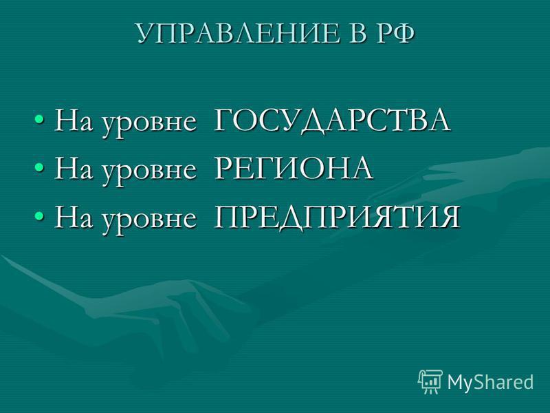 УПРАВЛЕНИЕ В РФ На уровне ГОСУДАРСТВАНа уровне ГОСУДАРСТВА На уровне РЕГИОНАНа уровне РЕГИОНА На уровне ПРЕДПРИЯТИЯНа уровне ПРЕДПРИЯТИЯ