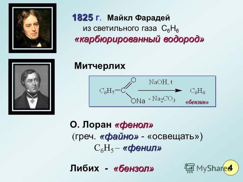 1825 1825 г. Майкл Фарадей из светильного газа С 6 Н 6 «карбюрированный водород» 4 Митчерлих «фенол» О. Лоран «фенол» «файно» «фенил» ( греч. «файно» - «освещать») С 6 Н 5 – «фенил» «бензол» Либих - «бензол» «бензин»