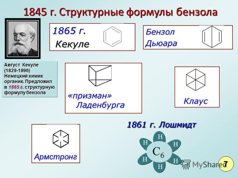 1845 г. Структурные формулы бензола 1845 г. Структурные формулы бензола Армстронг 1865 г. Кекуле Кекуле Бензол Дьюара Клаус Клаус «признан» Ладенбурга Август Кекуле (1829-1896) Немецкий химик органик. Предложил в структурную формулу бензола в 1865 г.