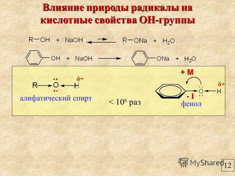 12 Влияние природы радикалы на кислотные свойства ОН-группы фенол алифатический спирт < 10 6 раз + М+ М+ М+ М - I- I- I- I δ+δ+ δ+δ+
