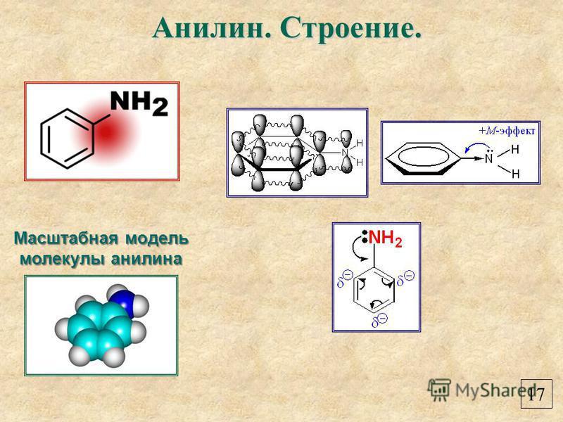 Масштабная модель молекулы анилина Анилин. Строение. 17
