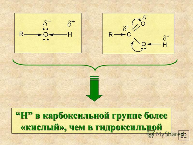 22 Н в карбоксильной группе более «кислый», чем в гидроксильнойН в карбоксильной группе более «кислый», чем в гидроксильной